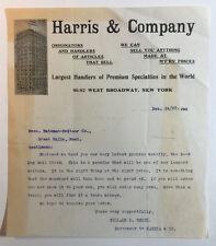 Antique Letterhead Harris & Company NY to the Bateman Switzer Co Montana 1907