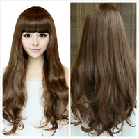 Women's Long Curly Fluffy Wavy Hair With Bangs Brown Cosplay Costume Full Wig
