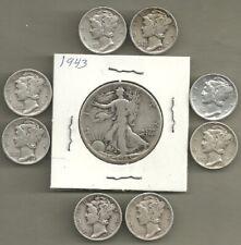 New ListingWalking Liberty Half & Mercury Dimes - 90% Silver - Us Coin Lot - 9 Coins #4732