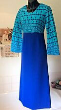 vintage 1960's blue/turquoise Crimplene &cotton flared sleeve evening dress S -8
