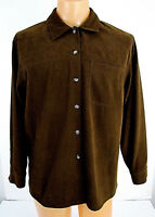 """TALBOTS Size Medium Brown Shirt Microsuede Mens Long Sleeve 45"""" Chest EXCELLENT"""