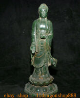 """11,2 """"Tibet Naturel Vert Jade Sculpté Sakyamuni Tathagata Bouddha Lotus Statue"""