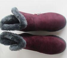 Dear Time Women Winter Warm Button Snow Boots 5 1/2 Red Wine Zipper a14