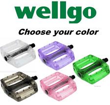 Wellgo B190P Translucent BMX MTB Bike Platform Pedals Clear Black Green Pink