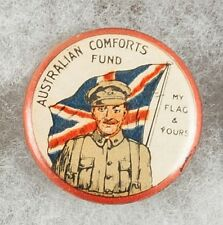 World War One Australian Comforts Fund My Flag & Yours Pinback Button Badge