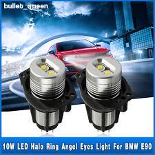 2x 10W Angel Eyes LED Lights Ring Bulb White Halo For BMW E90 E91 3 Series 6000K