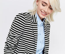 NEW NWT OASIS PONTE BLACK WHITE NAUTICAL RIBBED STRIPE BLAZER JACKET 10 6 36