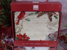 222 FIFTH HOLIDAY WISHES CARDINAL POINSETTIA CHRISTMAS DINNER PLATES SET 4 NIB
