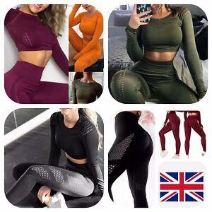 Women 2Pcs Yoga Suit Long Sleeve Crop Top&Leggings Seamless Suit Gym Pants Set
