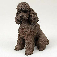 Poodle Figurine Hand Painted Collectible Statue Chocolate Sport