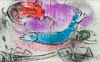 Marc CHAGALL Limited Edition ORIGINAL Color Lithograph, 1957 + FRAME