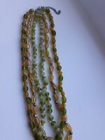 Vintage 3 stranded glass bead necklace in lime green & amber yellow shades # 32