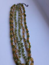 Vintage 3 stranded glass bead necklace in lime green & amber yellow shades