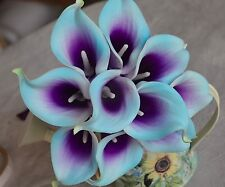 10 Picasso Light Aqua Purple Calla Lilies Real Touch Flowers For Silk Wedding
