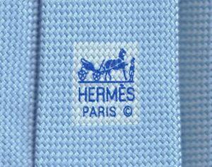 Elegant New Tags Hermes Tie Solid Blue Sky Basketweave Classic Motif Mint!