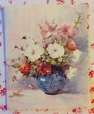 Vintage 1940s Unused Greeting Card Flower Vase Watercolor by Artist Lillian Grow