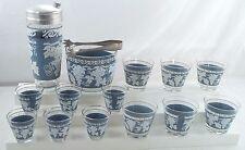 15 Pc Mid Century Jeanette Glass Wedgwood Grape Bar Set Shaker Rocks Ice Bucket
