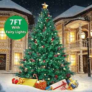 7FT Christmas Tree Green Bushy With Metal Stand+Lights In/Outdoor Decoration