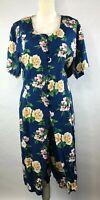 The Avenue Womens Plus 26 / 28 Blue Floral Short Sleeve Shift Midi Mock Dress