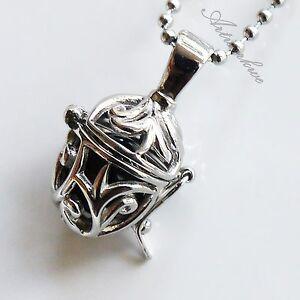 Silver Pine Nut Black Zircon Ball Stainless Steel Pendant Men's Women's Necklace