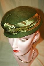 New listing Vintage Henry Pollack Brushed Wool Hat w/ Satin Band & Feather Trim
