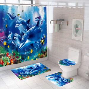 Dolphins Shower Curtain Bathroom Rug Set Bath Mat Non-Slip Toilet Lid Cover