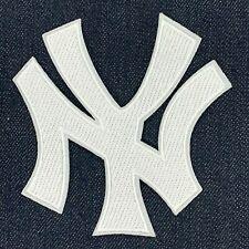 "NEW YORK YANKEES WHITE NY LOGO JERSEY PATCH IRON ON 4"" X 4"""