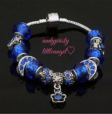 Handmade European 925 Sterling Silver Plated Charm Bracelet w/ Blue Metal Beads