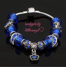 Handmade European 925 Sterling Silver Plated Charm Bracelet w/ Blue Metal Beads