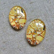 Paquete De 5 Cristal Oval cabochon Gustav Klimt estilo 25 X 18 mm