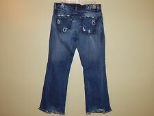 575 California Jeans Dk Wash Heavy Distressed Boot Cut Jeans Penny Button Fly 31
