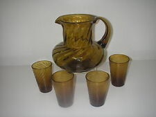 Vintage ART Glass Hand Blown Amber 5 pc Beverage Set Pitcher tumblers Unknown