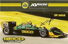 2011 TONY KANAAN signed INDIANAPOLIS 500 PHOTO CARD POSTCARD IZOD INDY CAR LOTUS