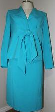 Midnight Velvet Women's 2 Pieces Tie front Jacket Skirt Suit - Blue -10