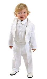 5 Teile festlich Jungen Baby Kinderanzug Frack Smoking Taufe Hochzeit weiß Gr 80
