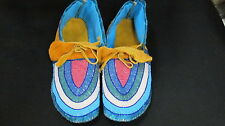 FULLBEAD MULTICOLOR MOCCASSIN 10 1/2 INCHES LONG SUPERB FASCINATING  BEADED VAMP