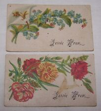 2-VICTORIAN ERA CALLING CARDS-GENEALOGY-WREN NAME