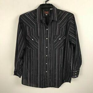 Vintage Plains Western Wear Shirt Size L Black Silver Maroon Striped Pearl Snap