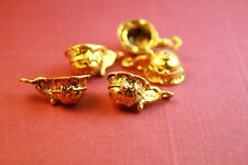 8 Teacup Coffee Charms Antique Gold Tone Metal 19 x 8 mm  - 0163