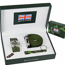 Army Watch Gift Set Style Belt Torch Green Men's Boys British Gift Strap