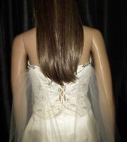 """Cape drape Boho Ivory wedding veil 90"""" chapel length 1T with diamante clips"""