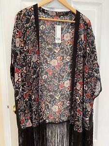 Warehouse Women's Black Flower Print Kimono With Tassels Size Large BNWT