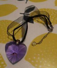 Beadazzle Handmade Purple Heart Necklace In Gauze Bag With Polishing Cloth
