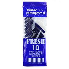 Dorco TD708 Twin Blade Disposable Men's Razors, 10ct
