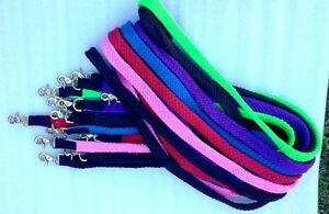 Reins  colored Braided, Black,Purple.Blue ,Green.,Brown,Red and Pink clip/buckle