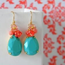 Turquoise Mixed Materials Handcrafted Earrings