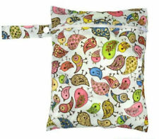 Small Wet Bag for Nappies, Breast Pads, Wipes, Cloth Pads - Vintage Birds