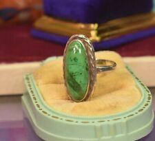 Vintage 925 sterling silver Maw sit sit jade long cabochon ring sz 10