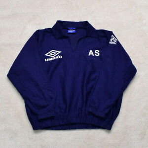 Vintage 90s Umbro Pro Training Navy Drill Top Size Large