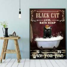 Black Cat & co. Bath Soap Wash Your Paws - Cat Poster No Frame